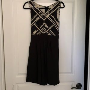 Anthropologie Black and Cream Dress